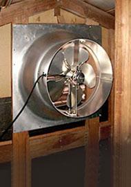 gable mount attic fan installed Attic Fans